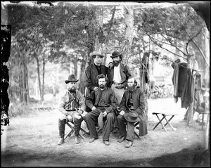 Meagher and companions in camp,