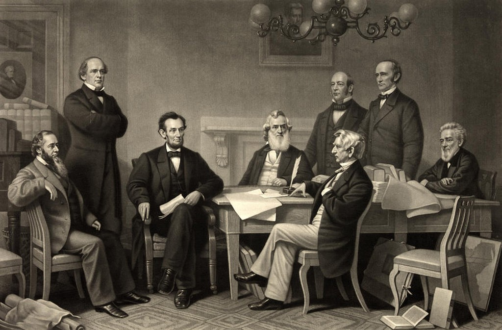 Lincoln and his cabinet at the first reading of the Emancipation Proclamation.