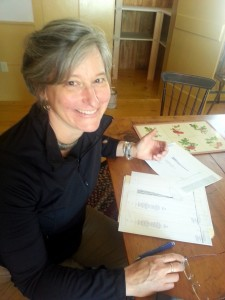 Andy Wasserman discusses her post concept at the Danville Historical Society