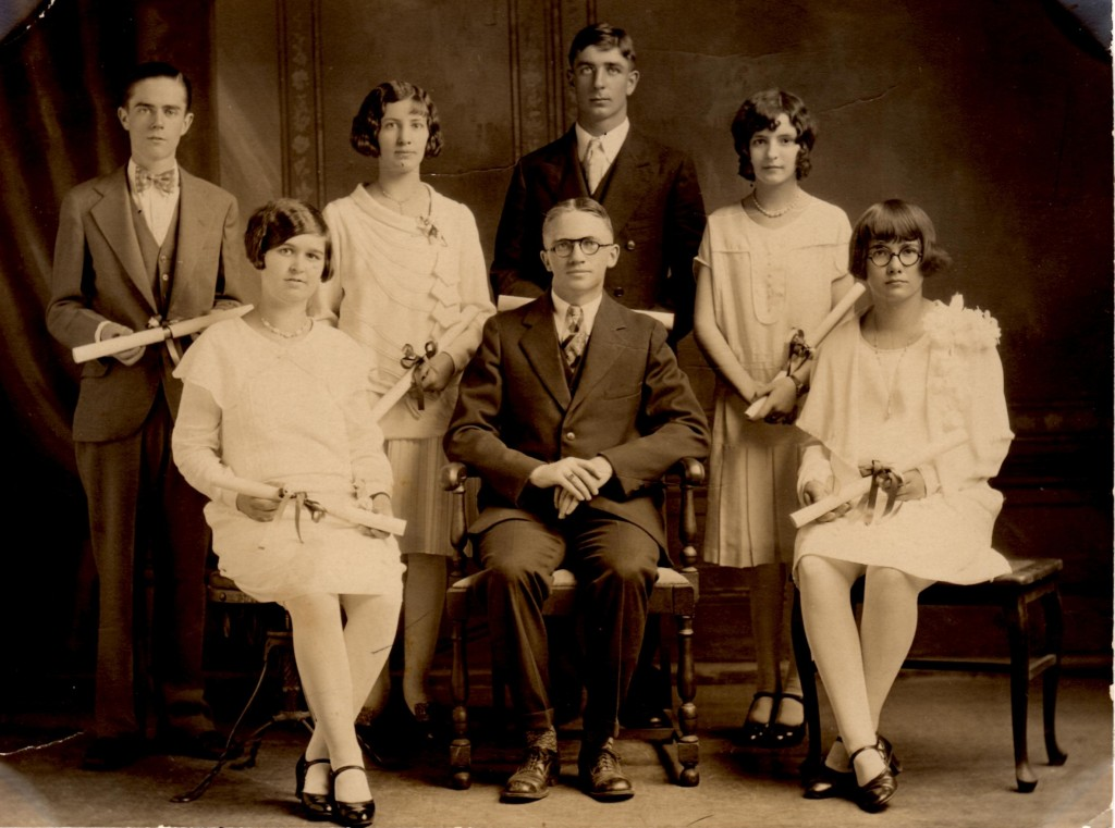 Arlene's graduation picture. She is front left. Who knows the other people?