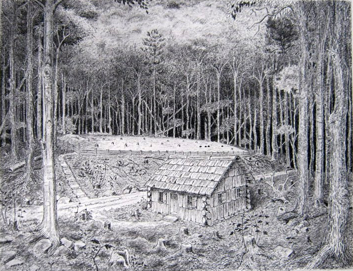 Artist and historian, Robin Rothman, created a rendering of the old bark meetinghouse that was located in Danville Center. Thaddeus and his family would have attended Baptist church services here as their pitch was located nearby.