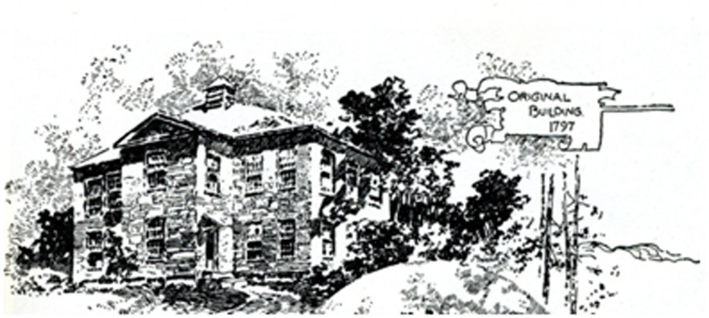 An artist's rendition of the old school. The site of the building is marked in Peacham at the top of the hill near the cemetery.