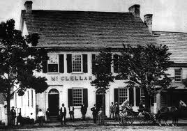 A photo of the McClellan house in Gettysburg. Thaddeus' office was the smaller building attached to the right.