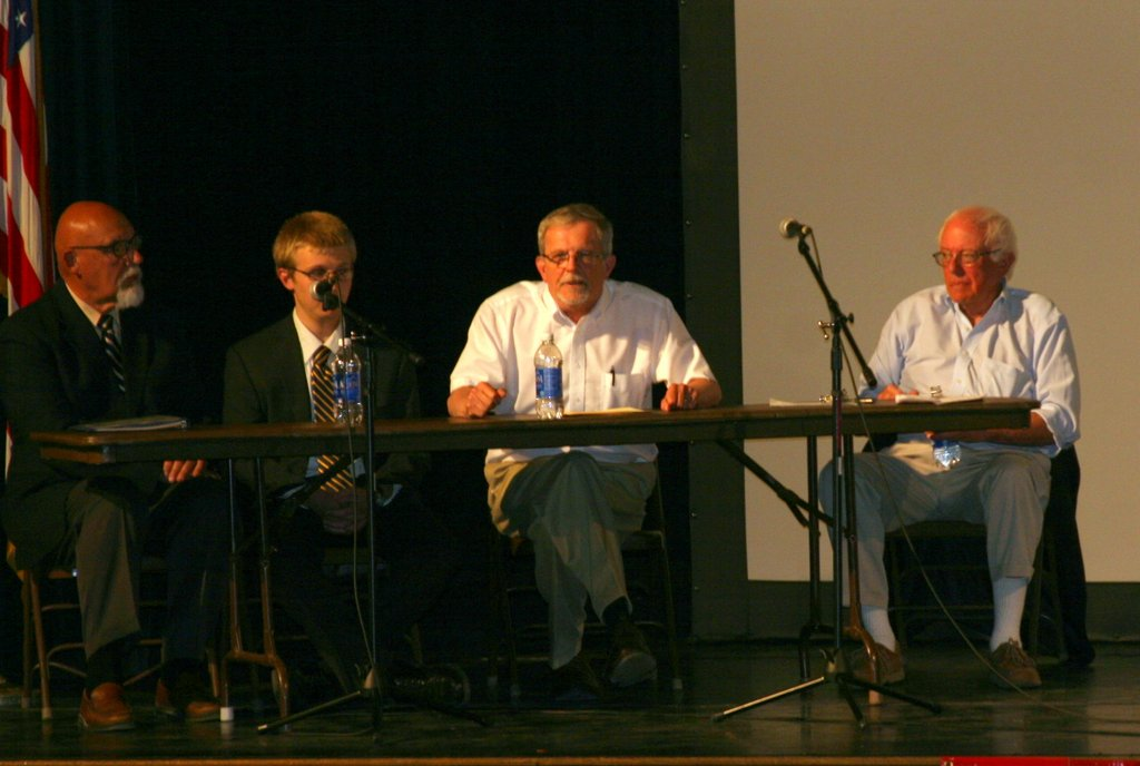 A panel discussed Thaddeus Stevens' role in the passage of the 13th, 14th and 15th amendment to the Constitution: (l to r) Paul Chouinard, Noah Manning, Howard Coffin and Senator Sanders.