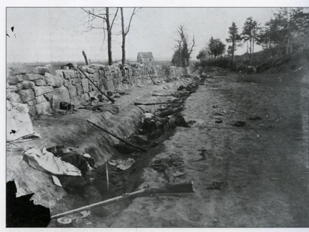 A photo of the dead at the Fredericksburg stone wall.