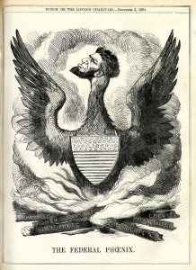 A cartoon printed in England in 1864, showing Lincoln as the Federal Phoenix rising from the flames of American Democracy.
