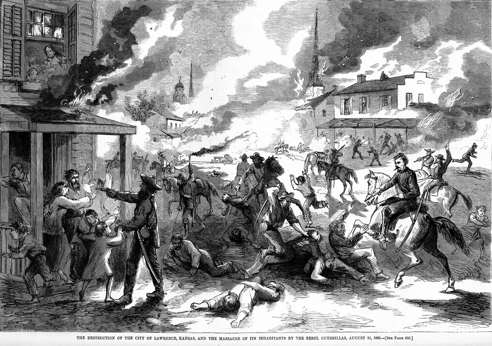 The atrocities of war--This drawing of the Sack of Lawrence Kansas was just one of the many.