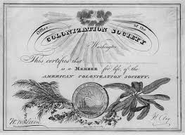 The American Colonization Society membership certificate.