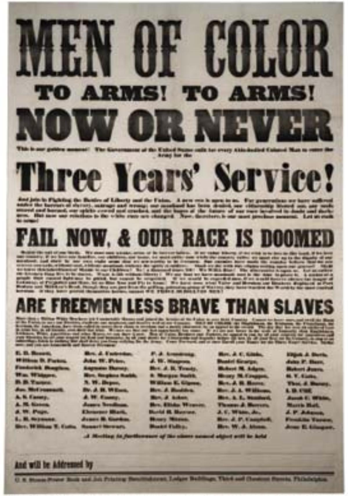 A recruiting poster for the USCT (United States Colored Troops).