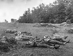 The dead at Gettysburg. A grim photo of the cost of the war.