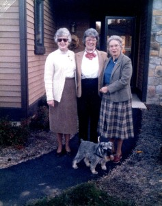 Meg with her Danville friends, Gloria Morse and Janet Wakefield. The miniature schnauser was one of Meg's and Charles' favorite dogs.