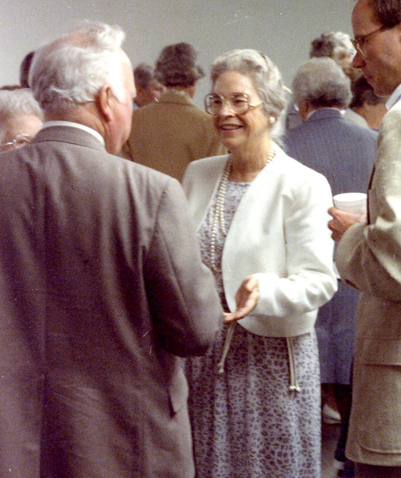 Meg shares the joy at the dedication of the stained glass window she commisioned for the Danville Congregational Church, dedicated to mother, Eva Crane Goff, in 1988.