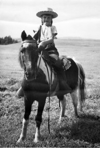 Betty tha ou Sherry on Teddy, Dr. Paul Hamilton's pony on which most of the children in Danville learned to ride. He was an intelligent and fast pony that could run a quarter mile in 30.25 seconds. Photo courtesy of Bettylou Sherry