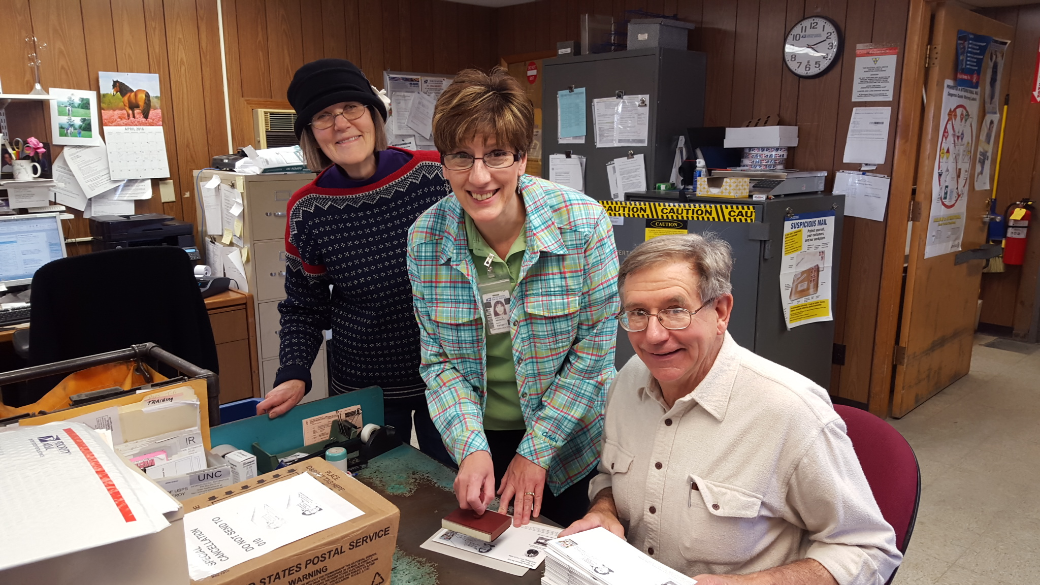 Sharon Lakey, Lindi Pronto and Don Gallagher finishing up postmarking for Thaddeus Stevens