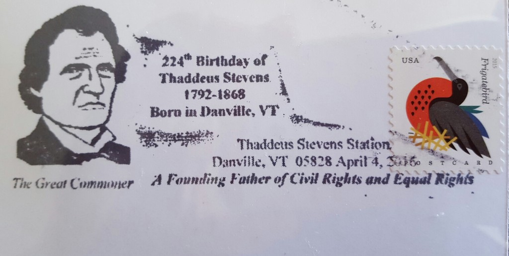 The postmark cancellation used in Danville on April 4, 2016. In this case, it was used on a postcard created for the event. These are available at the Danville Historical Society.
