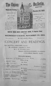 A music program found in Miss Whittier's scrapbook